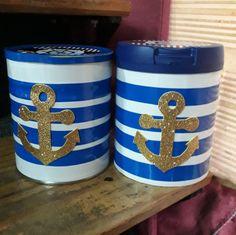 Souvenirs tematica Marinero (con latas de leche) Ezio, Baby Shower, Mugs, Tableware, Party, Ideas, Sailor Party, Good Ideas, Milk Jars