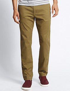 Cotton Rich Slim Leg Chino Trouser with Buttonsafe™ #trousers #leggings #skinny #men #man #fashion #style #marksandspencer #kadın #pantolon #mscollection #autograph #blueharbor #limitededition #slimfit #straightfit