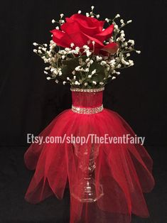 This Centerpiece Wedding Vase Couture Red is just one of the custom, handmade pieces you'll find in our centerpieces shops. Quinceanera Centerpieces, Bridal Shower Centerpieces, Wedding Vases, Quinceanera Party, Vase Centerpieces, Wedding Table, Wedding Flowers, Centerpiece Wedding, Christmas Wedding Centerpieces