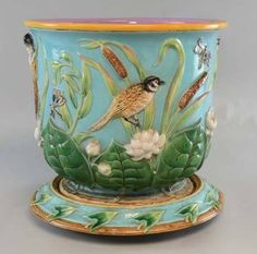 Gorgeous 19th century Majolica jardiniere and stand by George Jones #majolica #georgejones
