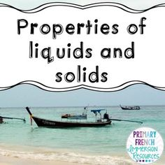 Grade 2 Science Unit - Properties of liquids and solids! Includes word wall cards, flashcards, activities and games. Grade 2 Science, Teaching Science, Teaching Ideas, Solid Liquid Gas, States Of Matter, French Resources, The Great White, The Unit, English
