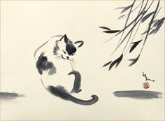 Cat Licks Himself on the Stomach, Giclee Print of Original Sumi-e Painting, $59.95