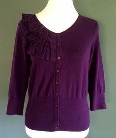 NWT Elle Women Size M Purple Cardigan Sweater Stretch Ruffle 3/4 Sleeve Cotton #Elle #Cardigan
