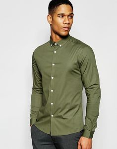 ASOS+Skinny+Shirt+In+Dusty+Olive+With+Button+Down+Collar