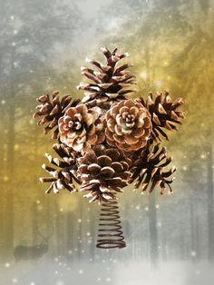 PHOTO ONLY - Pinecone Star Tree Topper Idea