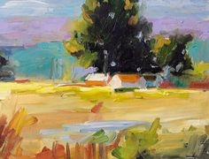 """Fine art print of landscape painting from my original oil painting, Soothing Landscape 10"""" x 7"""""""