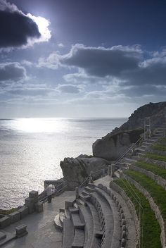 Minack Theatre, Cornwall, England - watched Shakespeare here in in storm where sea blew over edge of theatre. Cornwall England, Devon And Cornwall, Yorkshire England, Yorkshire Dales, West Cornwall, Beautiful World, Beautiful Places, Amazing Places, Places To Travel