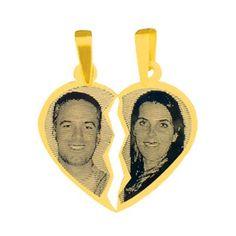 Pingente de Ouro com foto gravada / Fotogravação 19mm x 24mm http://www.luxjoias.com/pingente-ouro-foto-c-121_192.html