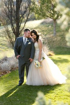 Mandy in a @liancarlodesign gown at her Colorado wedding | Little White Dress Bridal Shop: Denver Bridal Gowns & Wedding Dresses