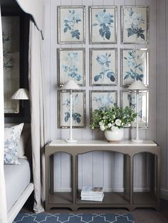 Love the pale mirror-framed botanicals. The Enchanted Home: Designer Spotlight: John Jacob Interiors- an encore! Home Interior, Interior And Exterior, Interior Decorating, Interior Design, Enchanted Home, Blue Rooms, White Decor, My Living Room, Home Bedroom