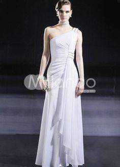White One-Shoulder Floor Length Chiffon Silk Like Satin Lining Evening Dress. White One-Shoulder Floor Length Chiffon Silk Like Satin Lining Evening Dress. See More One Shoulder at http://www.ourgreatshop.com/One-Shoulder-C968.aspx
