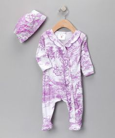 Take a look at this Lavender Lovely Toile Footie & Beanie - Infant by Mad Sky, Country Baby & Charm'd on #zulily today!