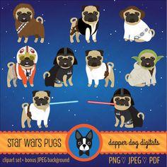 Pug Clipart Star Wars Set Commercial Use by DapperDogDigitals