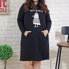 XL/2XL Plus Size Black Casual Hoodie Dress SP154642