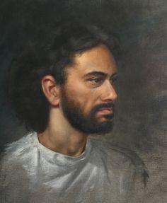 Retrato de Alfonso. Óleo sobre papel para óleo, 34 por 39 cm, Carme Rey, 2017.