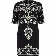 Black beaded shift dress - party / evening dresses - dresses - women