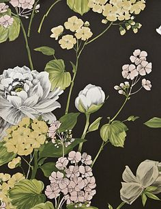 Penrose Floral Wallpaper Bold floral print wallpaper in Black, with yellows, pinks and metallic