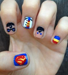 Nail Designs for Short Nails – A Special Design for a Smaller Room: Superman Nail Design Hipsterwall ~ hipsterwall.com Nails Inspiration