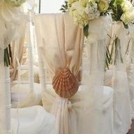 Beach idea for chair covers complimenting the table setting