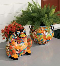 Hand-Crafted Painted And Glazed Ceramic Talavera Planter