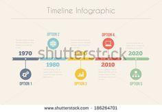 Retro Timeline Infographic, Vector design template