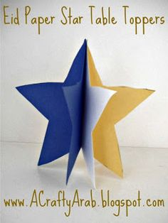 A Crafty Arab: Eid Paper Star Table Toppers Eid Crafts, Ramadan Crafts, Ramadan Tips, Eid Holiday, Holiday Crafts For Kids, Festive, Ramadan Activities, Craft Activities, Eid Party