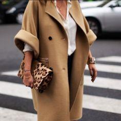 tan coat + leopard clutch.
