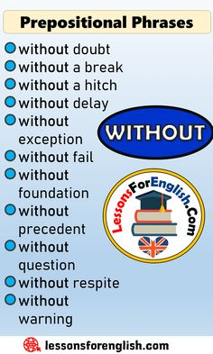 English Prepositional Phrases List WITHOUT without doubt without a break without a hitch without delay without exception without fail without foundation without precedent without question without respite without warning English Prepositions, English Verbs, English Phrases, Learn English Words, English Learning Spoken, Teaching English Grammar, English Language Learning, Essay Writing Skills, English Writing Skills