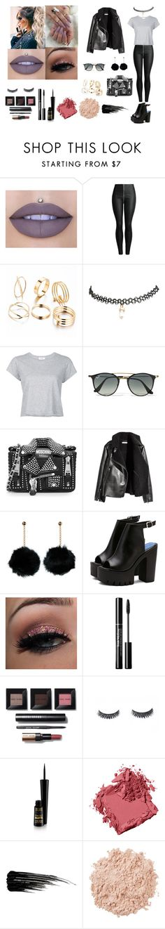 """Cuir Molly Look"" by yasminecamelia on Polyvore featuring mode, Jeffree Star, Wet Seal, RE/DONE, Ray-Ban, Moschino, Bobbi Brown Cosmetics, Urban Decay et La Mer"