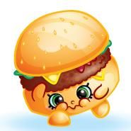 Cheezey B. (Shopkins 1-089, 1-099) Cheezey B. is a regular cheeseburger who looks like he is about to throw up. His variant is a tofu cheeseburger. A pink-bunned variant of him is included in the Vending Machine Storage Tin. Cheezey B. is a rare Party Food Shopkin from Season One.