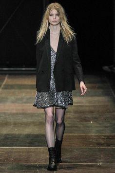Simple slip dressed with masculine blazer, love! Saint Laurent AW13