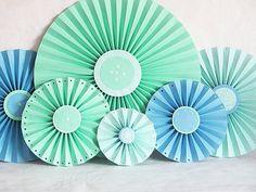 via SheShell on etsy http://www.etsy.com/listing/76596640/paper-flowers-fan-accordian-aqua-blue