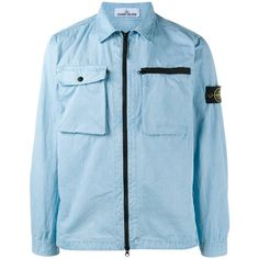 Stone Island overshirt jacket ($305) ❤ liked on Polyvore featuring men's fashion, men's clothing, men's outerwear, men's jackets, blue, mens blue jacket, mens travel jacket, mens lightweight jacket, mens cotton jacket and mens light weight jackets