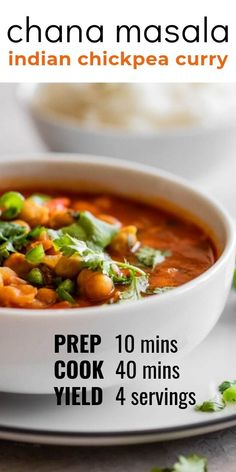 Enjoy a delicious Indian chickpea curry at home with this easy to make recipe - either on the stovetop or the Instant Pot! Made with a medley of spices chana masala pairs well with naan rice or even quinoa. Delicious authentic and so good! Soup Recipes, Dinner Recipes, Cooking Recipes, Chickpea Recipes, Vegetarian Recipes, Indian Chickpea Curry, Chickpea Indian Recipe, Naan, Chickpea Curry