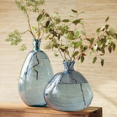 Recycled Glass Balloon Vases - Smoky Blues Collection