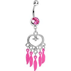 Pink Gem Heart Full of Dreamcatcher Dangle Belly Ring | Body Candy Body Jewelry #BodyCandy #neon #bellyring