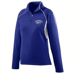 Augusta Sportswear Women's Double Needle Half Zip Raglan Sleeves Pullover. 4710 Description 90% polyester/10% spandex knit, Wicks moisture away from the body, Ladie's fit, Heat sealed label, Half-zip pullover style with locking zipper pull and piping at the collar, Raglan sleeves with contrasting accent piping, White inserts under the arm, Double-needle hemmed cuffs and bottom band, Machine-washable, Individually polybagged.  G0tApparel