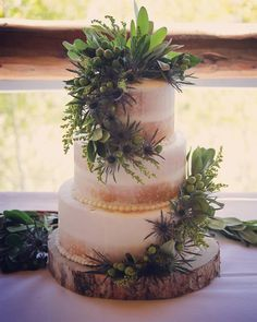 Semi-naked half-dressed wedding cake with seasonal fall flowers in swags and pine stand. Grand Lake, Cake Makers, Fall Flowers, Pine, Wedding Cakes, Colorado, Naked, Table Decorations, Wedding Dresses