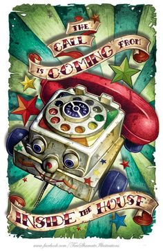 A cute poster painting by Tim Shumate of a kids toy telephone « « Mayhem & Muse