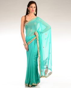 Turquoise Blue Sari with Gota Work