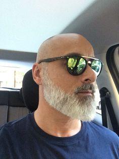 Great looking beard Bald Men With Beards, Bald With Beard, Grey Beards, Moustache, Beard No Mustache, Beard Styles For Men, Hair And Beard Styles, Shaved Head With Beard, Bald Men Style