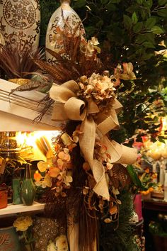 faux dried vertical fall floral arrangement   Evergreen at the Lake of the Ozarks  home decor store