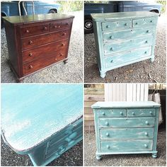 Quick makeover on these lovely drawers this afternoon. Gone for a beachy layered look. Used Annie Sloan Pure White and Provence Chalk Paint™ with clear wax. #anniesloan #chalkpaint #paintmewhite #paintwhatyouhave