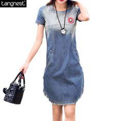 TANGNEST Women Denim Summer Dress 2016 New Short Sleeve Wash Irregular Jeans Vestido Knee Length Vintage Casual Dressed WQS1712
