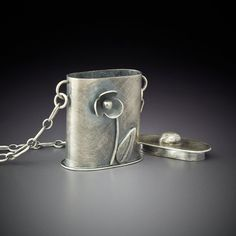 Sterling Silver Vessel Box Pendant Flask by @rarebirdcreations...pinned by ♥ wootandhammy.com, thoughtful jewelry.