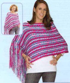 Side Striped Ponchos LW1462   Free Patterns