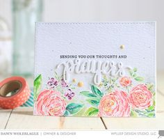 Distress Ink watercolor featuring the Wplus9 Beautiful Bouquet Ranunculus stamp set.
