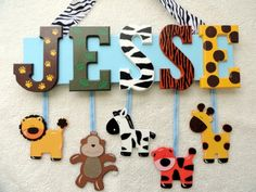 70 Modern and Affordable DIY Door Name Plates Ideas - Banning News Animal Letters, Diy Letters, Diy For Kids, Crafts For Kids, Baby Shower Gifts, Baby Gifts, Door Name Plates, Kids Door Signs, Animal Cutouts