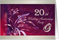 20th Wedding Anniversary Invitation Card by Greeting Card Universe. $3.00. 5 x 7 inch premium quality folded paper greeting card. Wedding Anniversary invitations & photo Wedding Anniversary invitations are available at Greeting Card Universe. Show your loved ones you care with a custom invitation to celebrate your event. Turn to Greeting Card Universe for all your Wedding Anniversary invitation needs. This paper card includes the following themes: 20, 20th, and wedding anniv...
