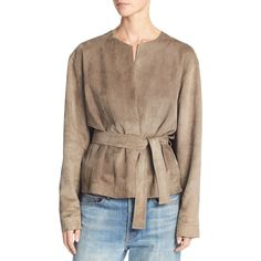 Vince Lamb Suede Belted Jacket ($1,475) ❤ liked on Polyvore featuring outerwear, jackets, brown, women's apparel jackets, collarless jackets, belted jacket, brown suede jackets, open front jacket and vince jacket